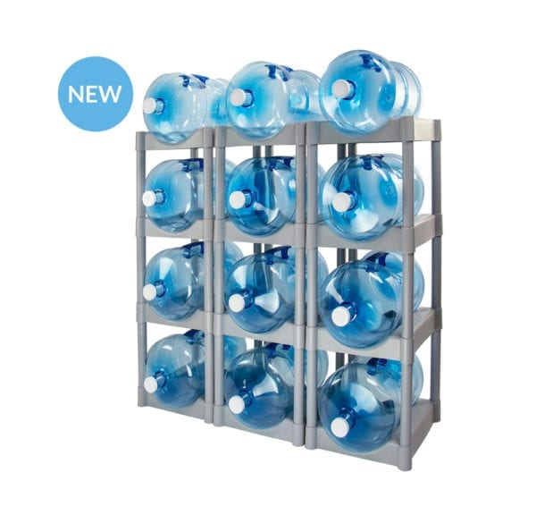 The grey 12 tray Bottle Buddy storage system with 12 water jugs in each slot.