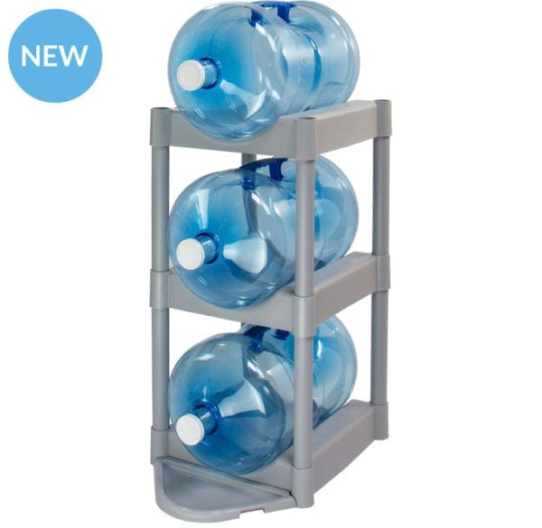 The grey 3 tray storage system holding 3 water jugs.