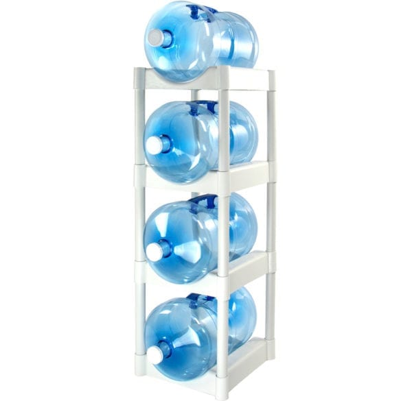 The white 4 tray water jug storage system with 4 jugs stacked.