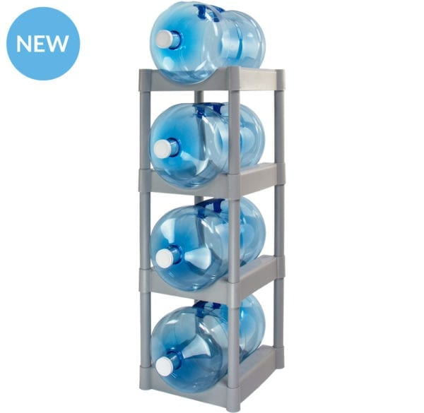 The grey 4 tray water jug storage system with 4 jugs stacked.