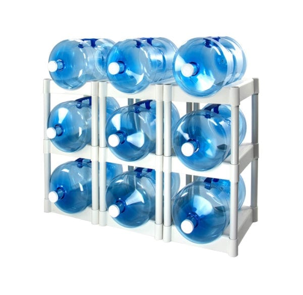 The 9 tray water storage system in white with 9 water jugs.