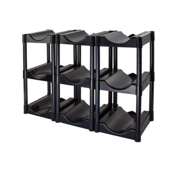 The black 9 tray water jugs storage system.