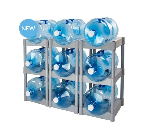 The 9 tray water storage system in grey with 9 water jugs.