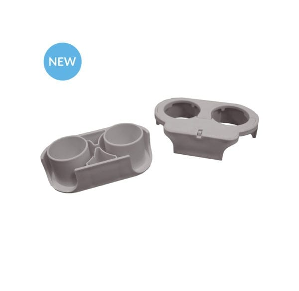 Two grey Bottle Buddy connector pieces.
