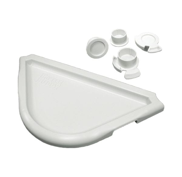 Display of a white half circle tray and four white cap protectors.