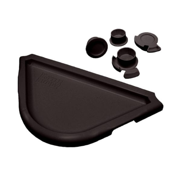 Display of a black half circle tray and four black cap protectors.